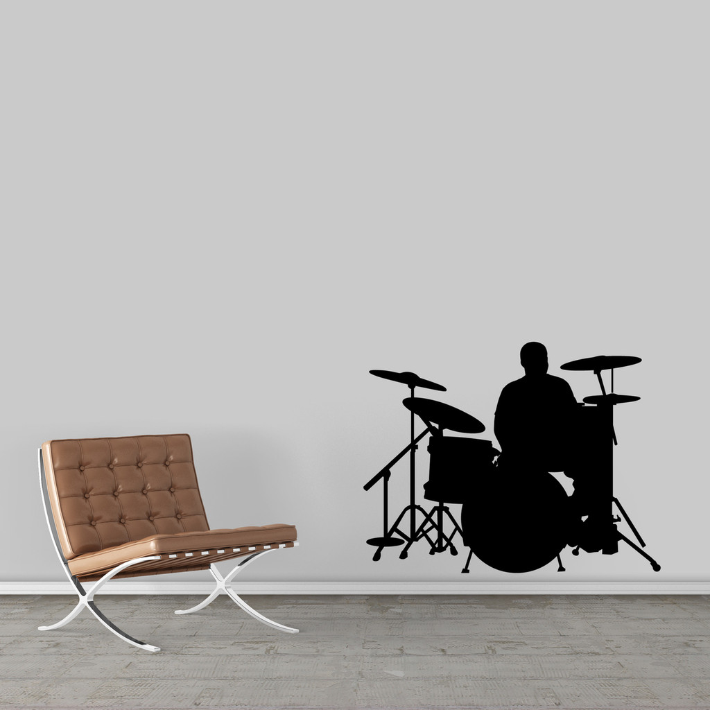 "Drum Set Wall Decal 36"" wide x 28"" tall Sample Image"