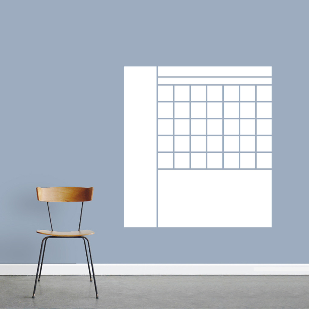 "Dry Erase Calendar With Notes Wall Decals 33"" wide x 36"" tall Sample Image"