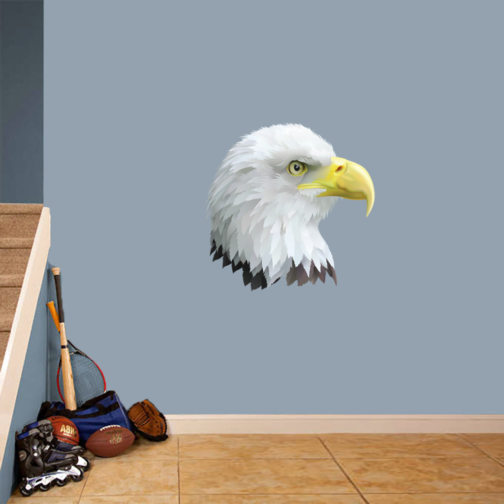 "Eagle Head Mascot Printed Wall Decals 24"" wide x 24"" tall Sample Image"