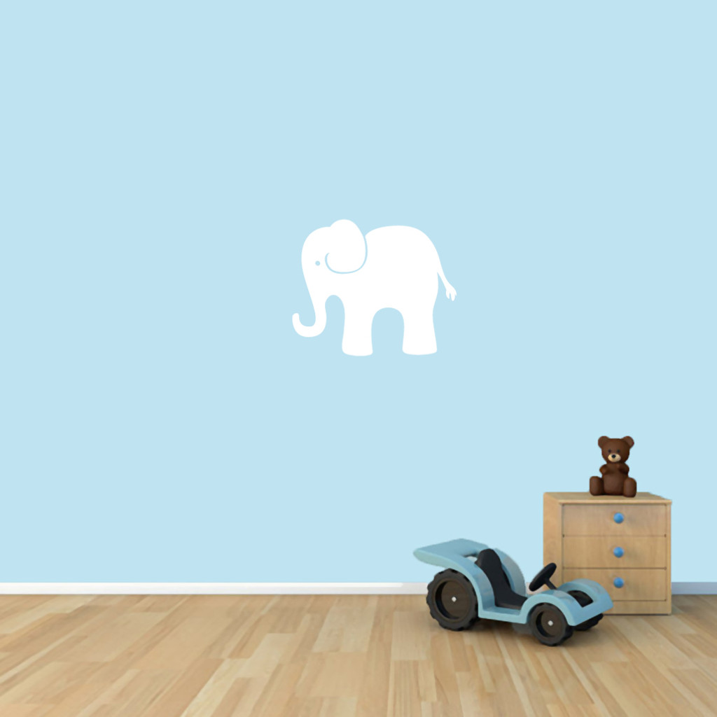"Elephant Wall Decals 18"" wide x 15"" tall Sample Image"