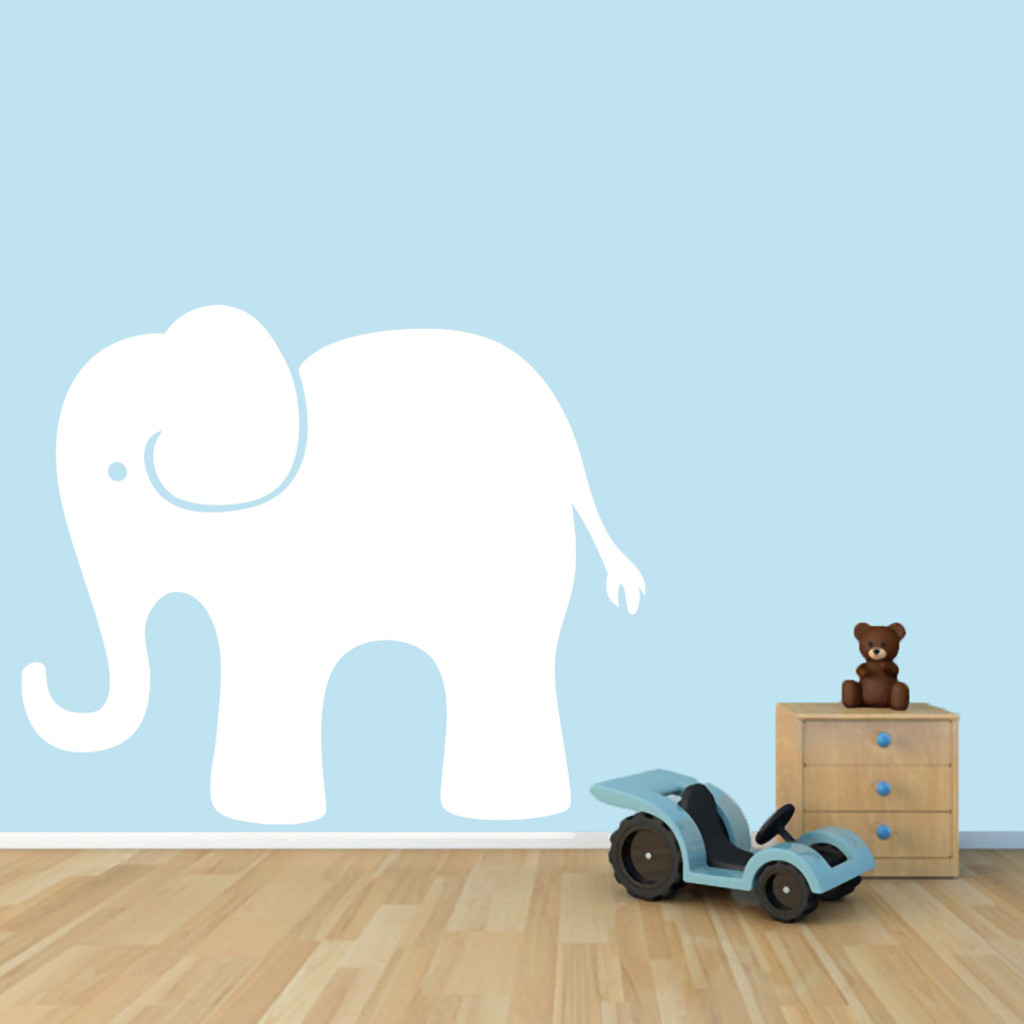 "Elephant Wall Decals 48"" wide x 40"" tall Sample Image"