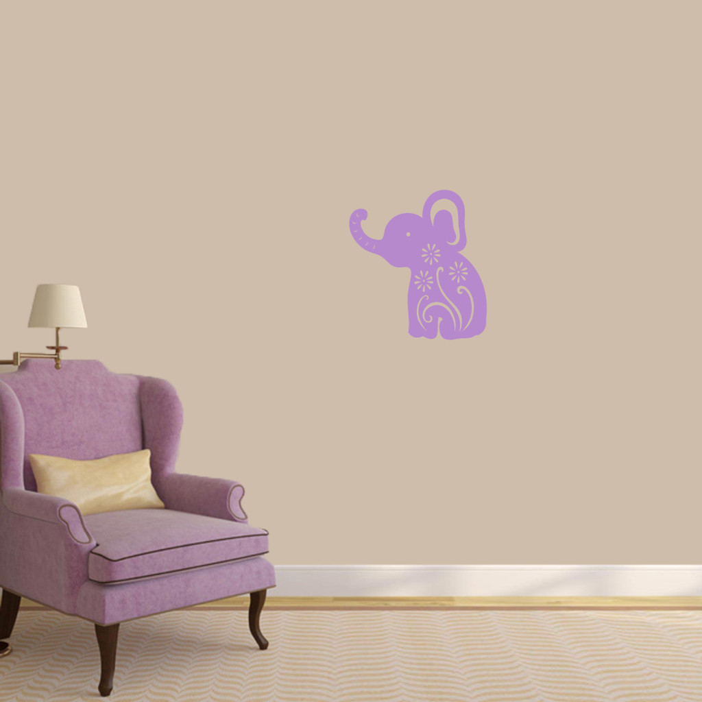 "Floral Elephant Wall Decals 16"" wide x 18"" tall Sample Image"