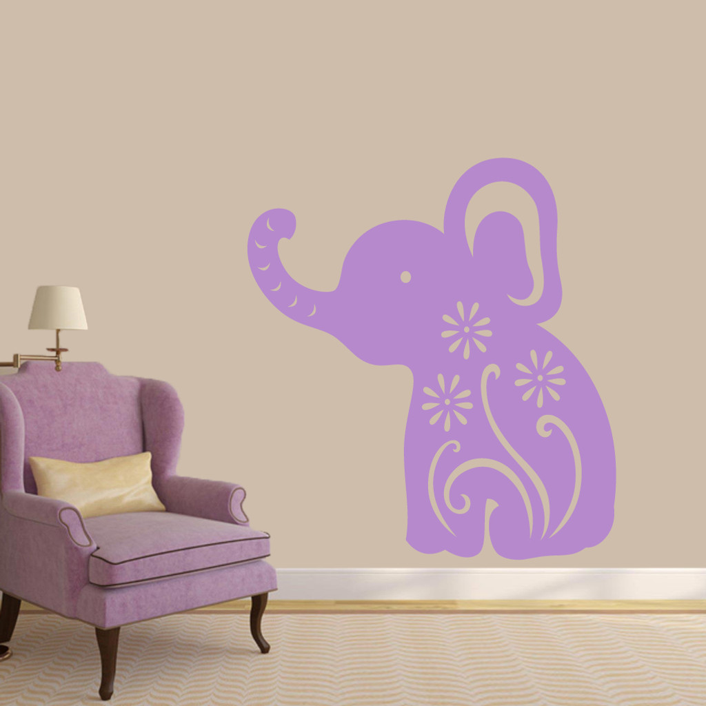 "Floral Elephant Wall Decals 44"" wide x 48"" tall Sample Image"