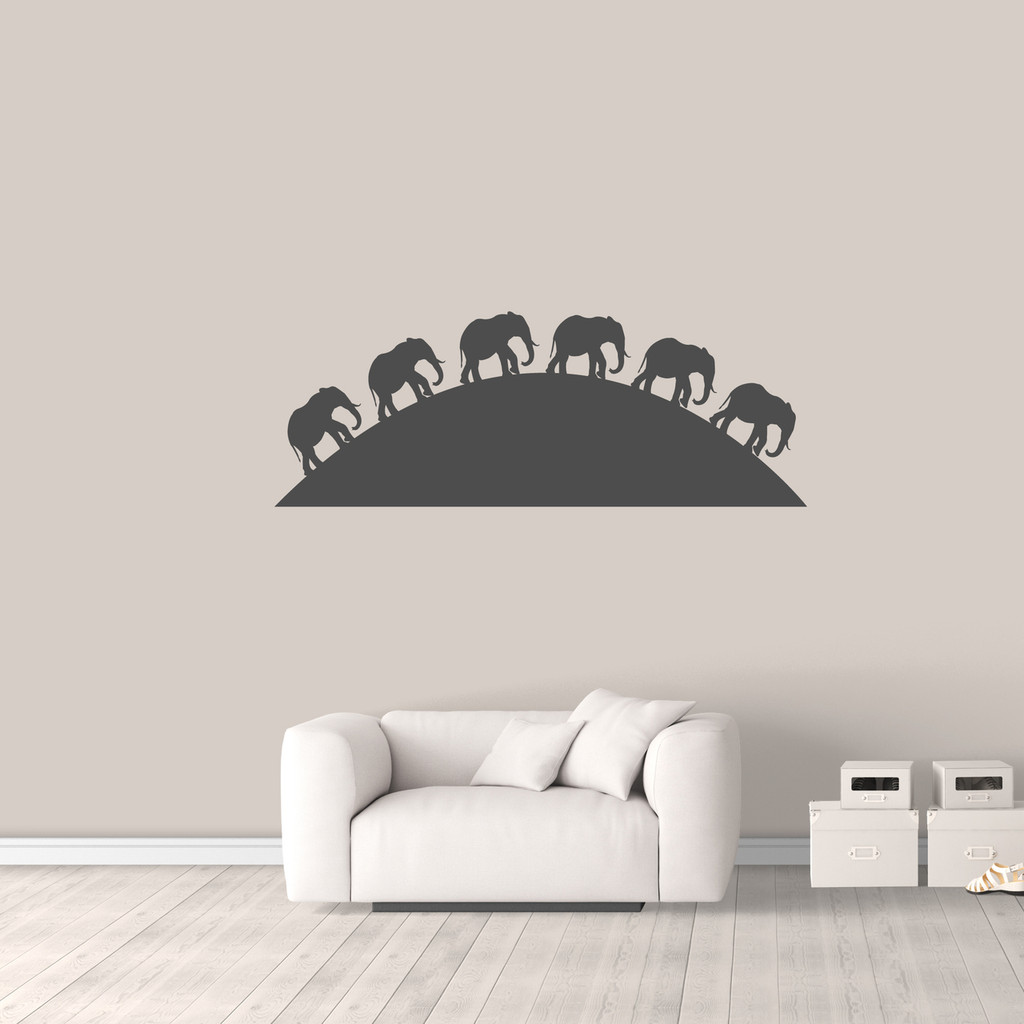 "Elephants On The Horizon Wall Decal 60"" wide x 22"" tall Sample Image"