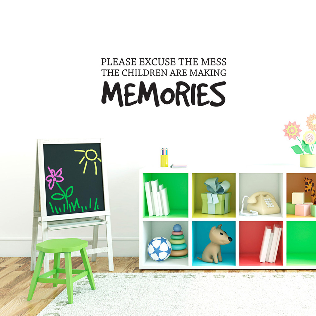 "Children Making Memories Wall Decals 36"" wide x 14"" tall Sample Image"