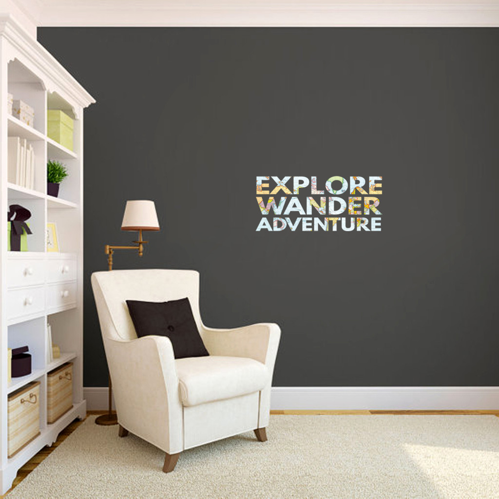 "Explore Wander Adventure Printed Wall Decals 24"" wide x "" tall Sample Image"