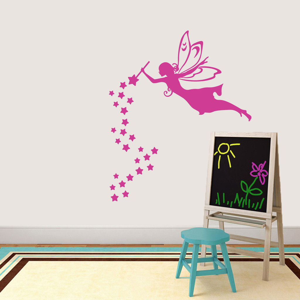"""Fairy With Wand And Stars Wall Decal 40"""" wide x 48"""" tall Sample Image"""