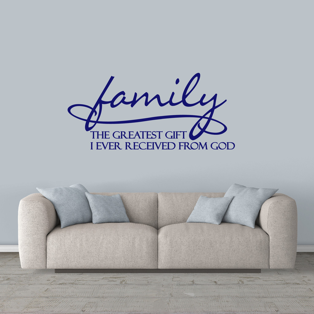 "Family Wall Decal 48"" wide x 22"" tall Sample Image"
