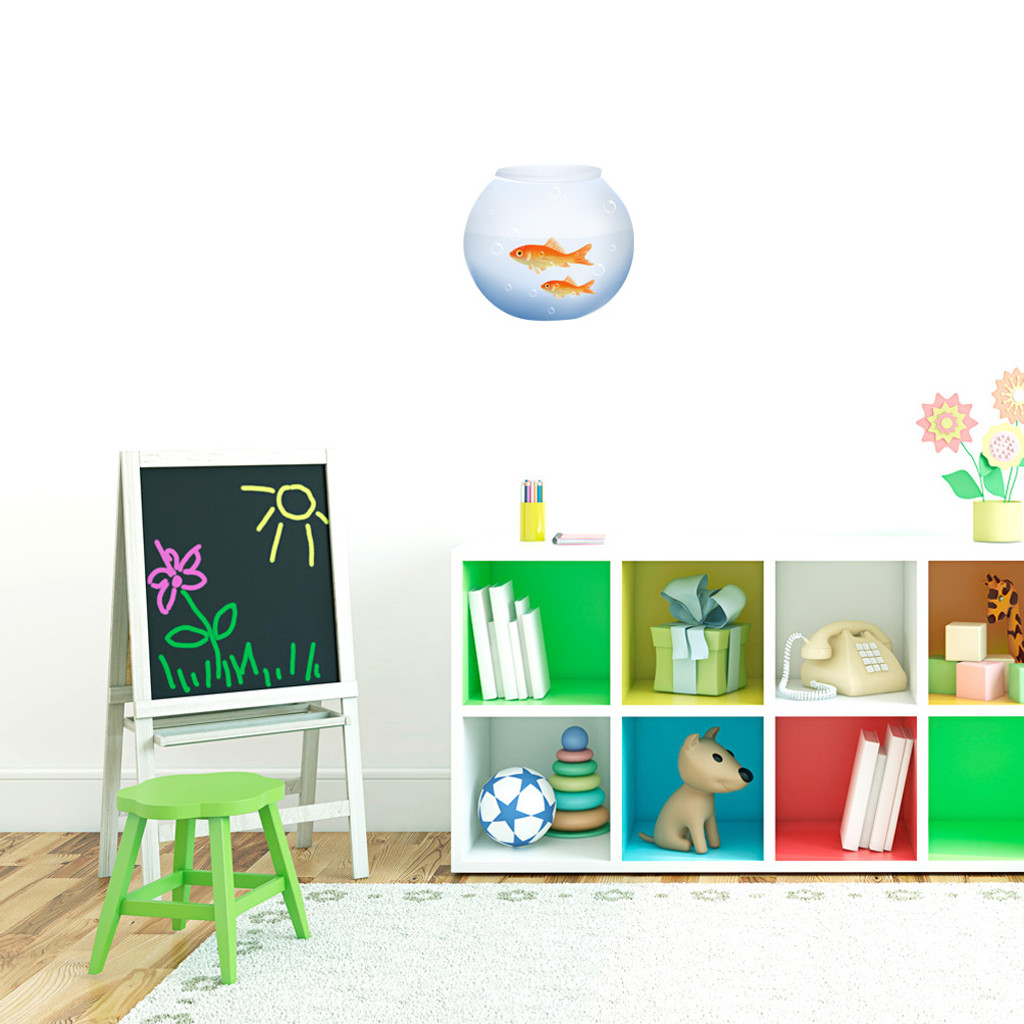 "Fish Bowl Printed Wall Decals 10"" wide x 9"" tall Sample Image"