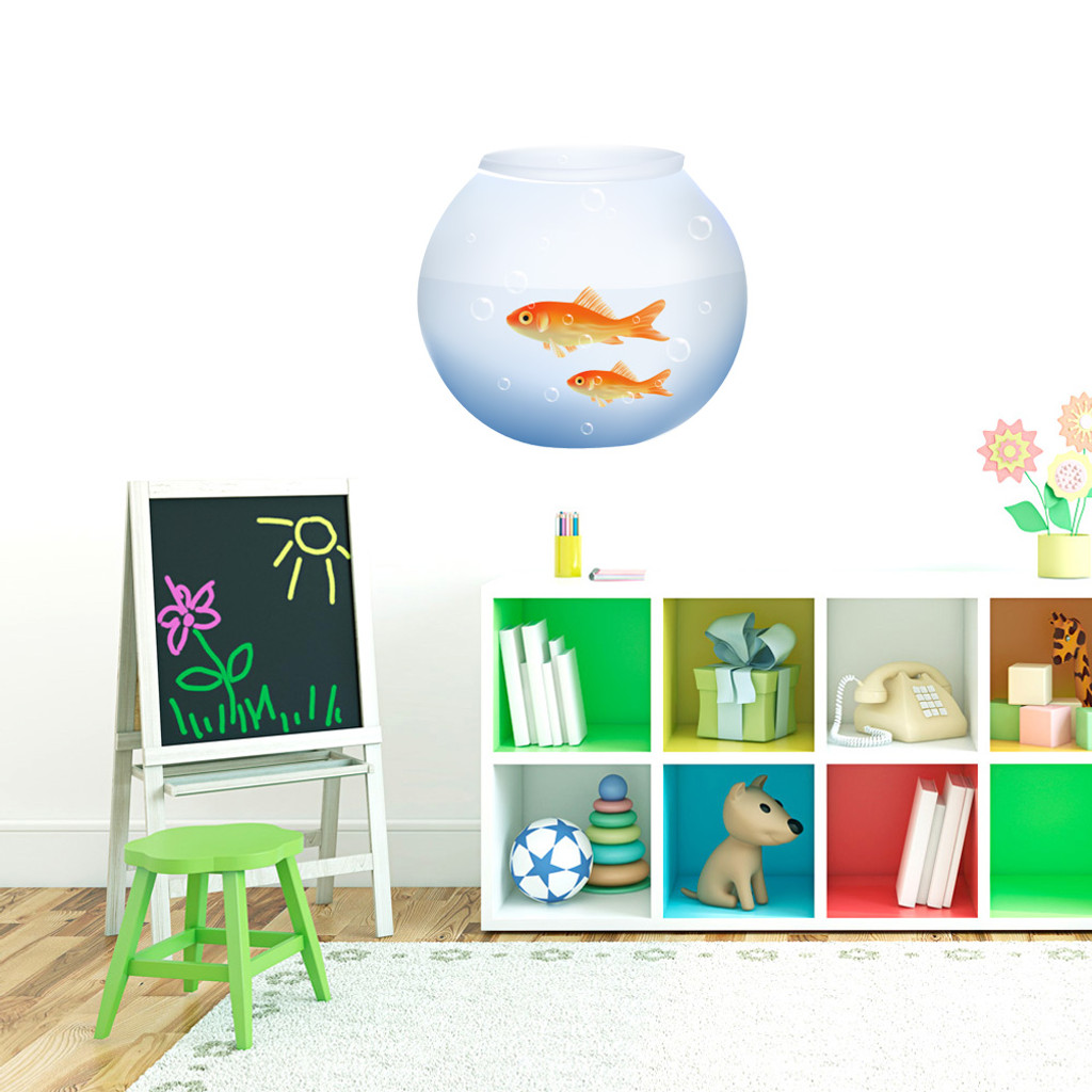 "Fish Bowl Printed Wall Decals 18"" wide x 17"" tall Sample Image"
