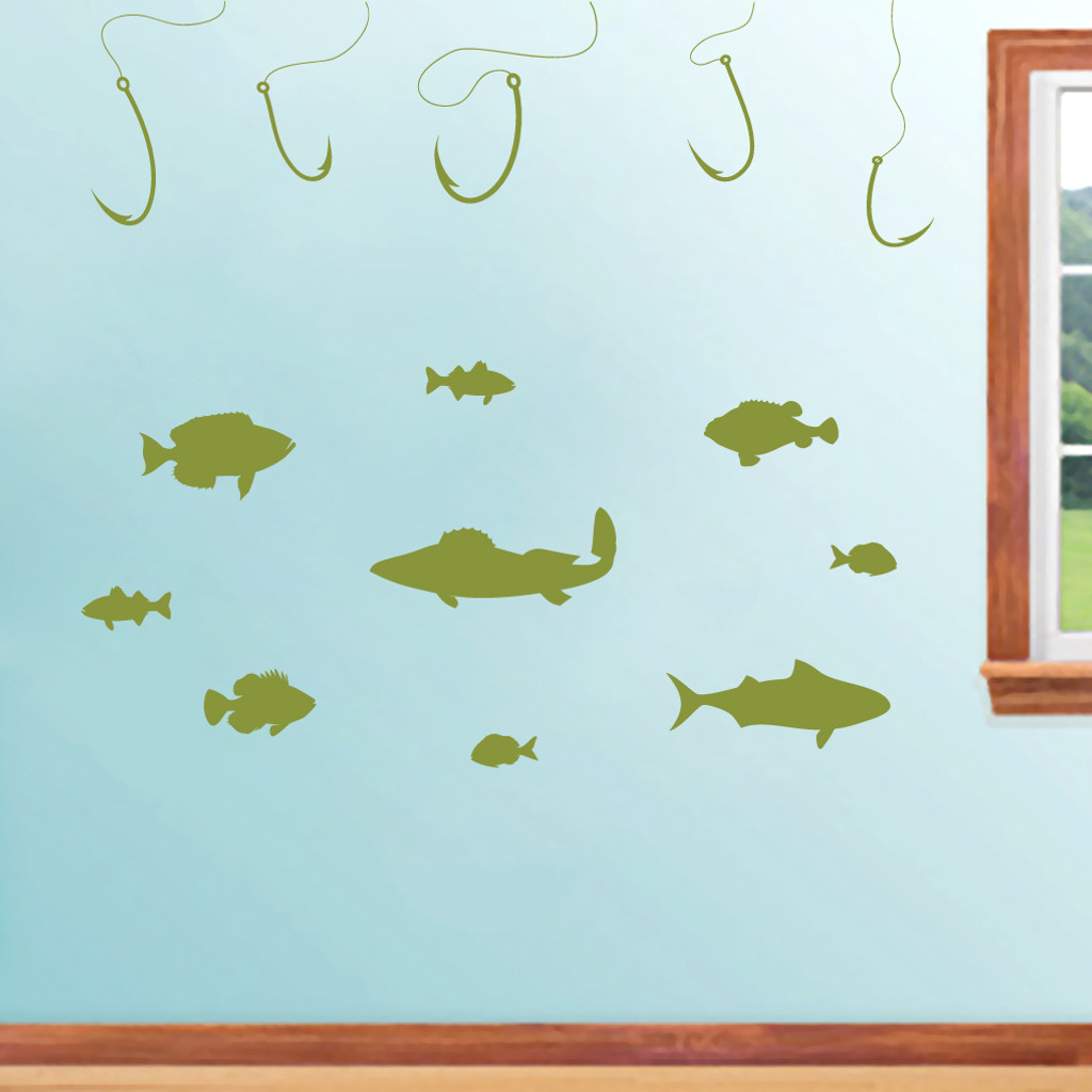 Fishing Set Wall Decals and Stickers
