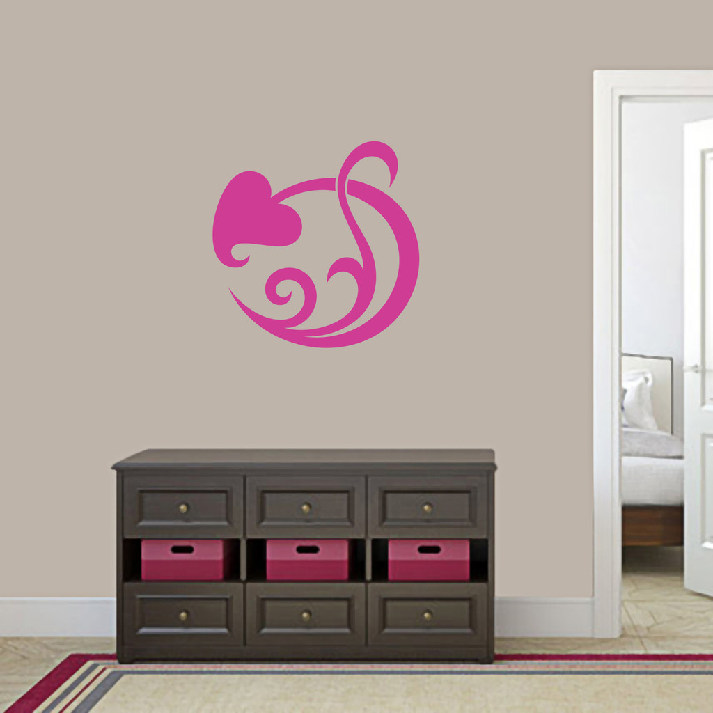 "Circle Leaf Scroll Wall Decal 22"" wide x 22"" tall Sample Image"