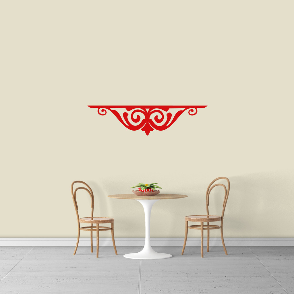 "Fancy Shelf Flourish Wall Decal 36"" wide x 9"" tall Sample Image"