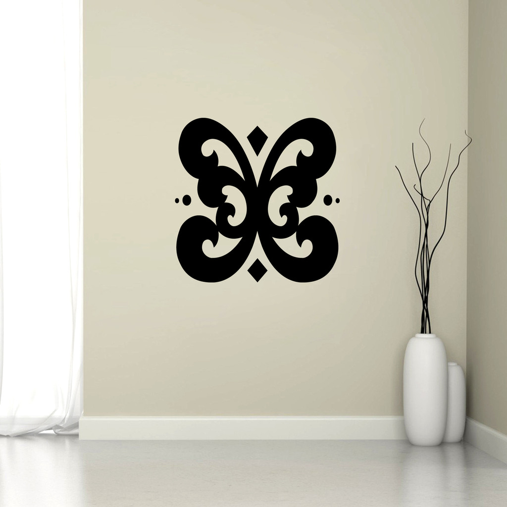 "Butterfly Flourish Wall Decal 22"" wide x 22"" tall Sample Image"