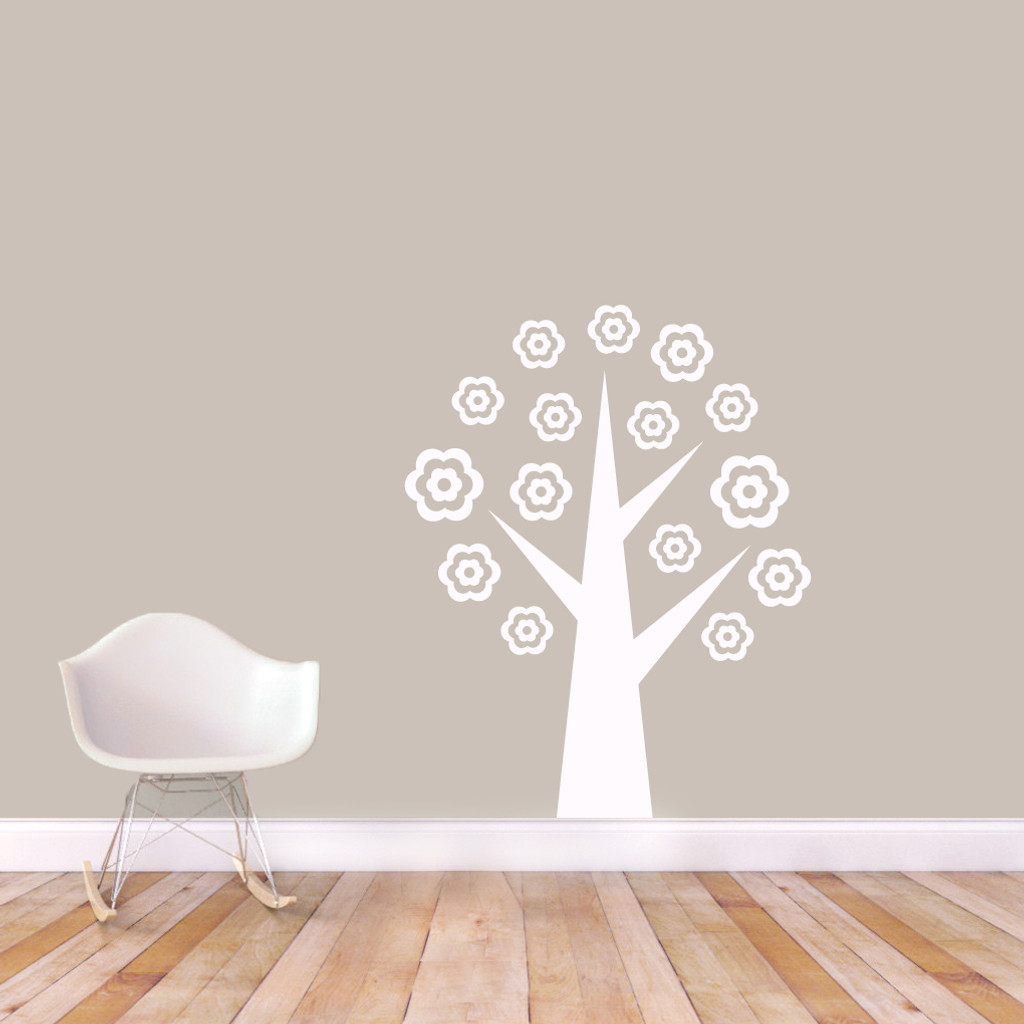 "Flower Tree Wall Decals 38"" wide x 48"" tall Sample Image"
