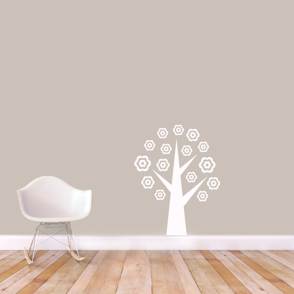 "Flower Tree Wall Decals 28"" wide x 36"" tall Sample Image"