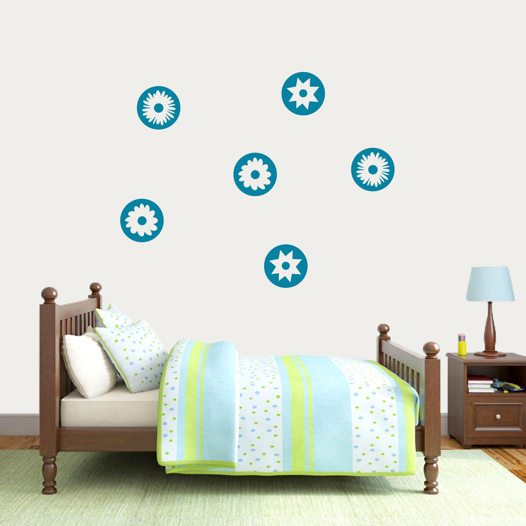 Circle Flowers Wall Decal Medium Sample Image
