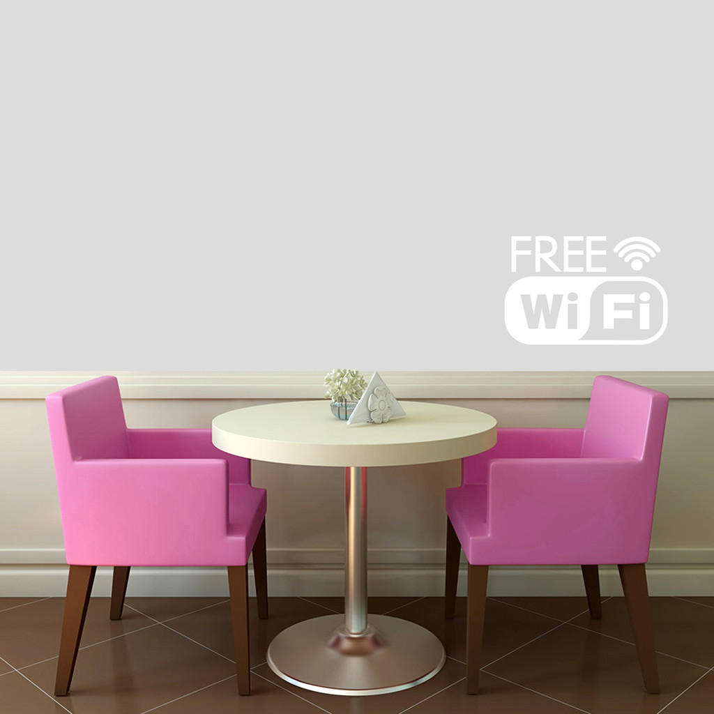 "Free Wifi Window or Wall Decal 18"" wide x 12"" tall Sample Image"