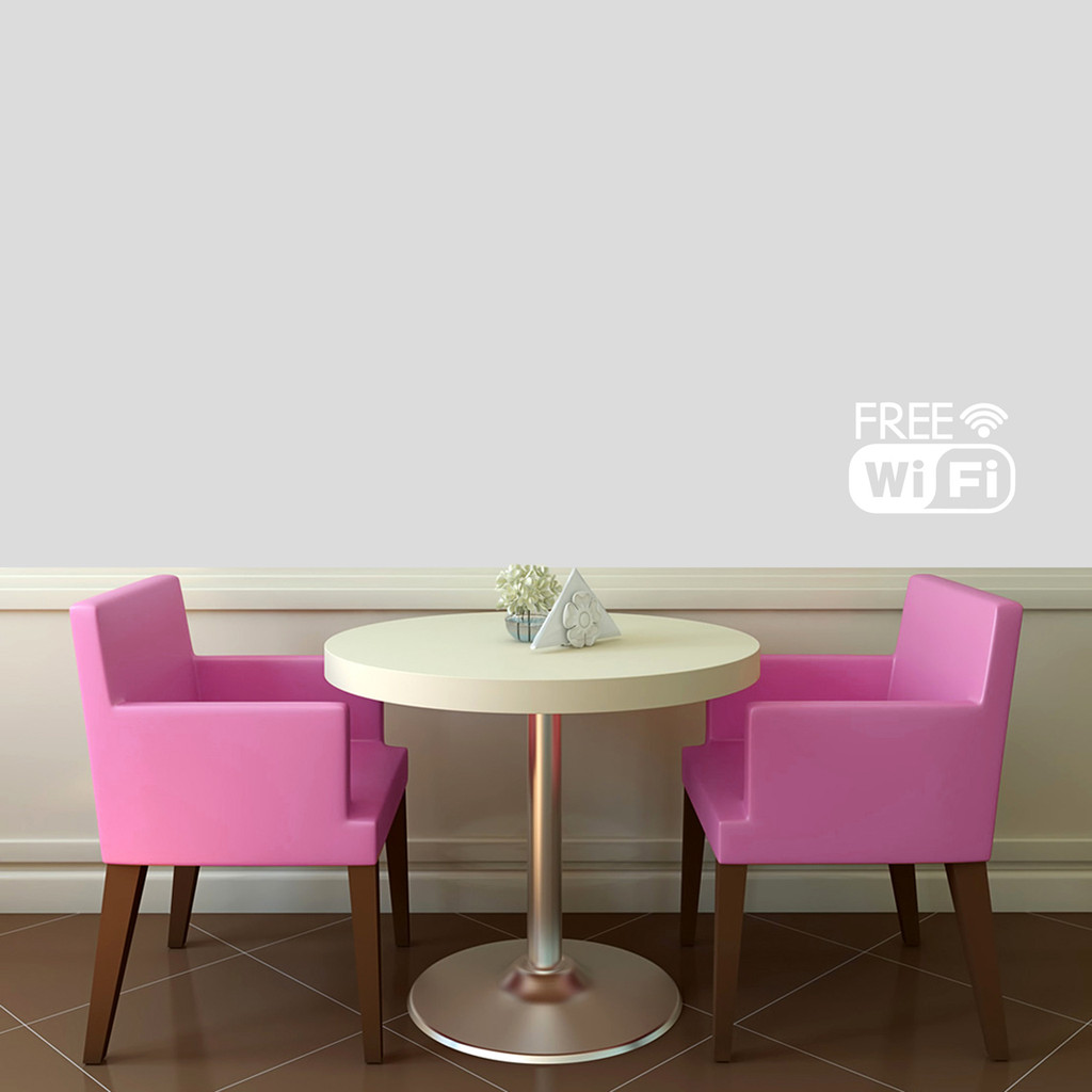"Free Wifi Window or Wall Decal 12"" wide x 8"" tall Sample Image"