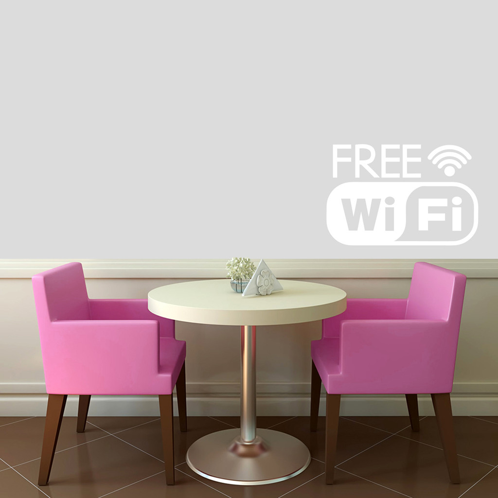"Free Wifi Window or Wall Decal 24"" wide x 16"" tall Sample Image"