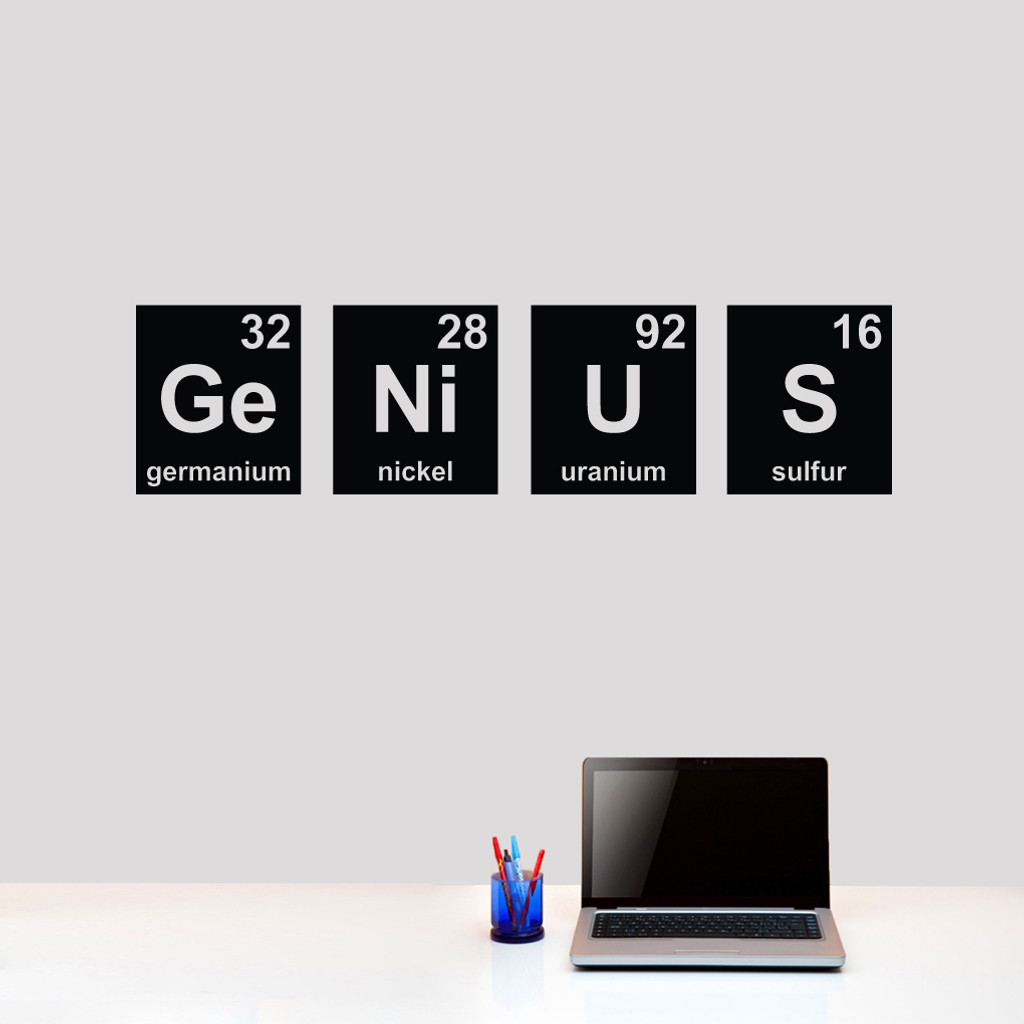 """Genius Periodic Table Wall Decals 48"""" wide x 12"""" tall tall Sample Image"""