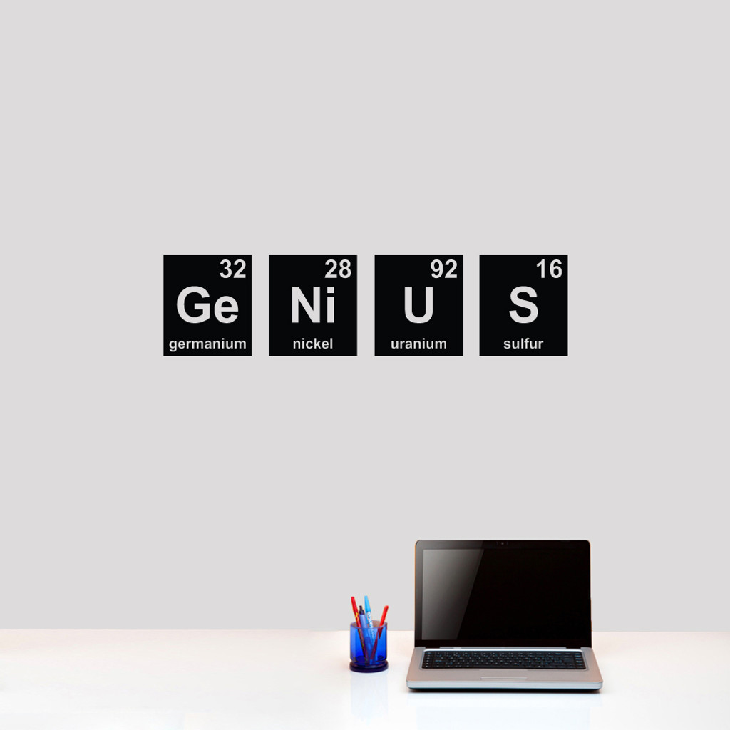 """Genius Periodic Table Wall Decals 36"""" wide x 9"""" tall Sample Image"""