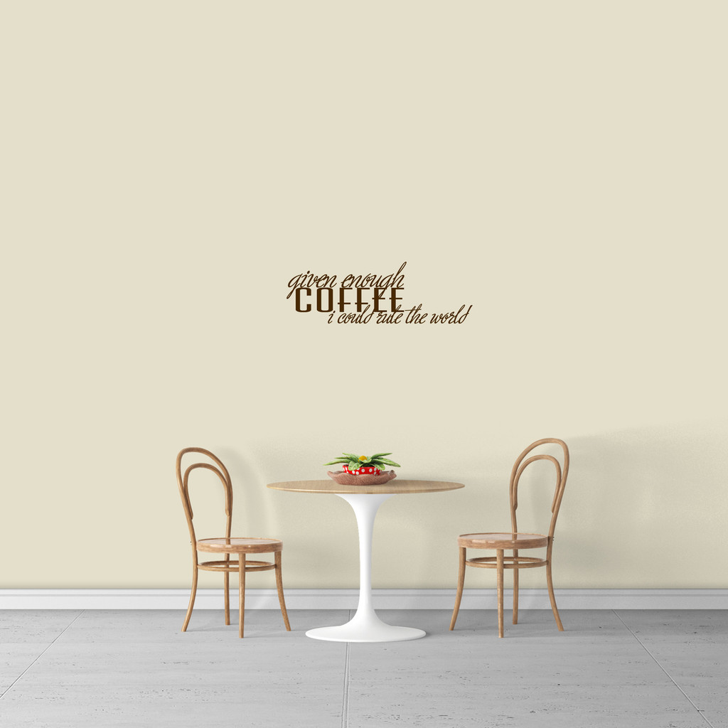 """Given Enough Coffee Wall Decal 24"""" wide x 8"""" tall Sample Image"""