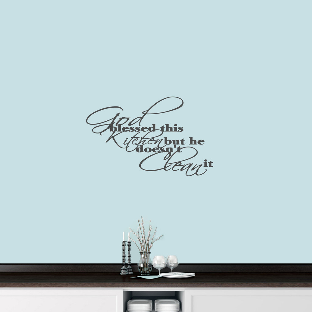 "God Blessed This Kitchen Wall Decal 24"" wide x 15"" tall Sample Image"