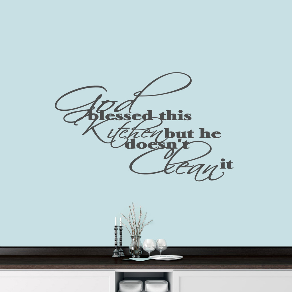 "God Blessed This Kitchen Wall Decal 36"" wide x 22"" tall Sample Image"