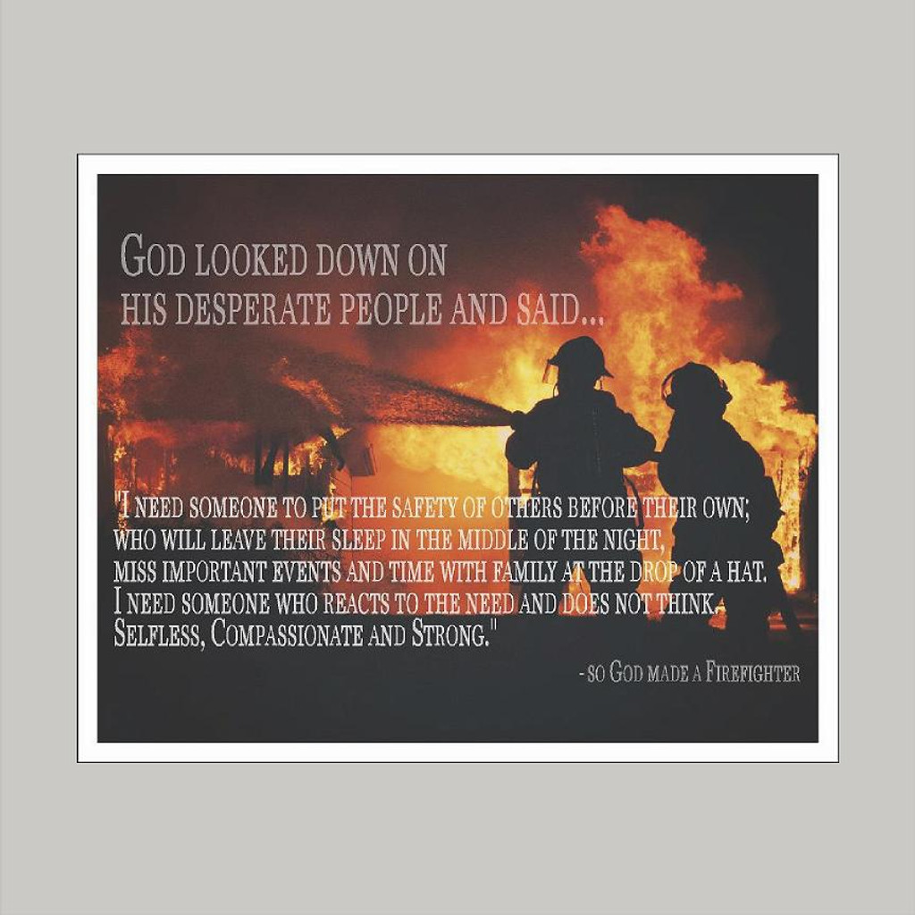 God Made A Firefighter Wall Art and Wall Decal Prints