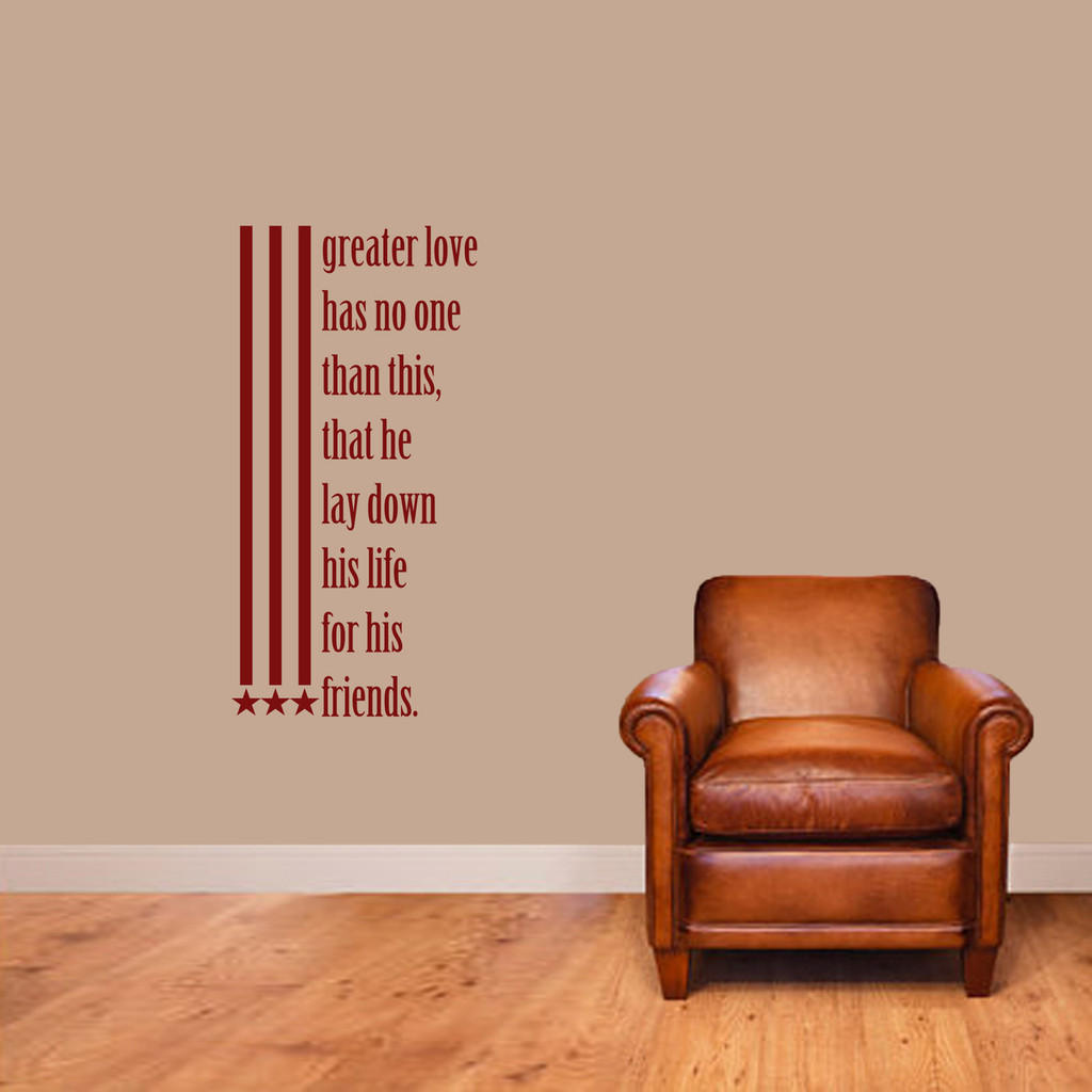 "Greater Love Has No One Than This Wall Decals 18"" wide x 36"" tall Sample Image"
