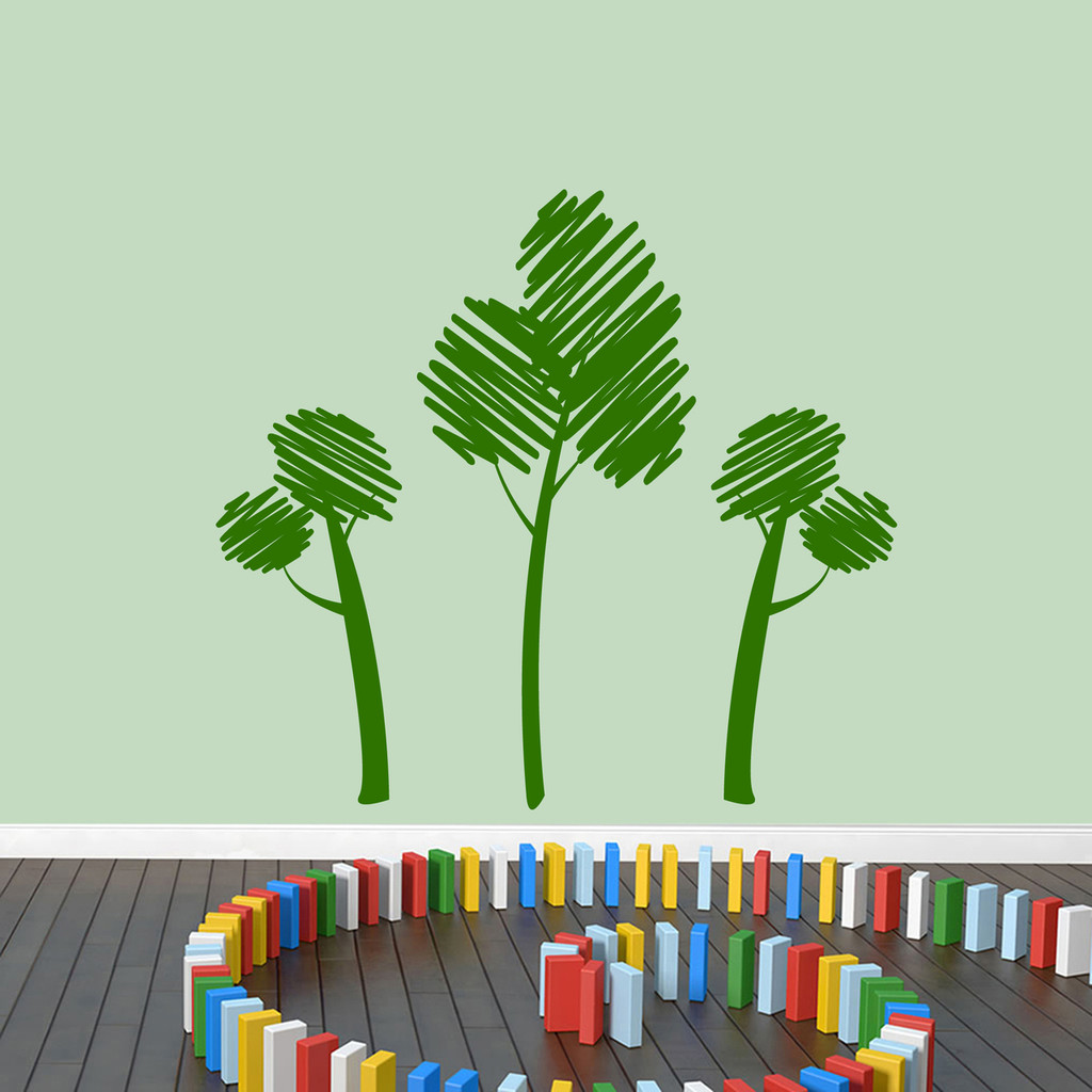Crayon Trees Wall Decals Large Sample Image