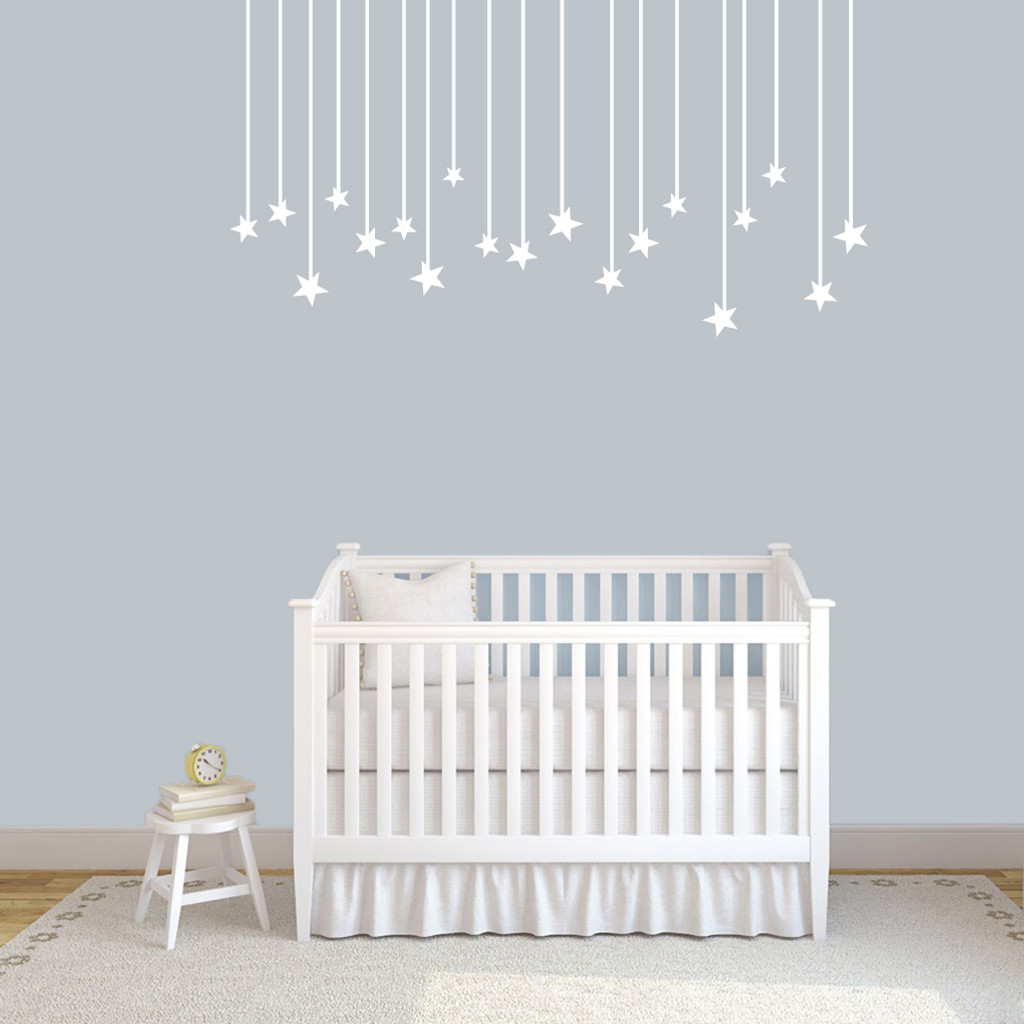"""Hanging Stars Wall Decals 60"""" wide x 32"""" tall Sample Image"""