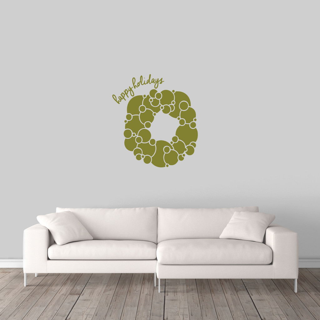 """Happy Holidays Wreath Wall Decal 22"""" wide x 24"""" tall Sample Image"""