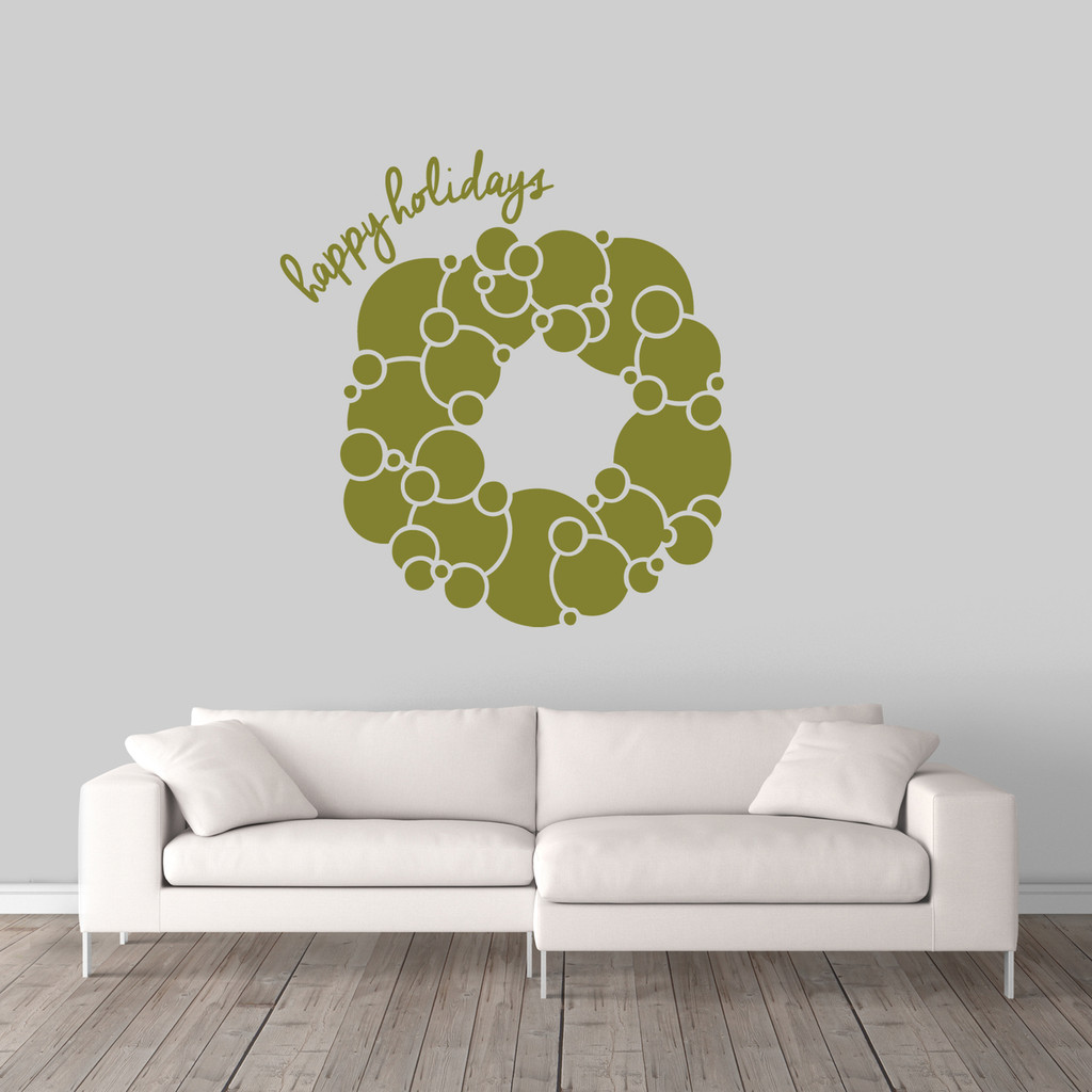 """Happy Holidays Wreath Wall Decal 34"""" wide x 36"""" tall Sample Image"""