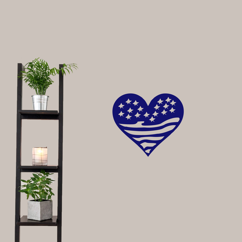 """Heart Flag Wall Decals 18"""" wide x 16"""" tall Sample Image"""