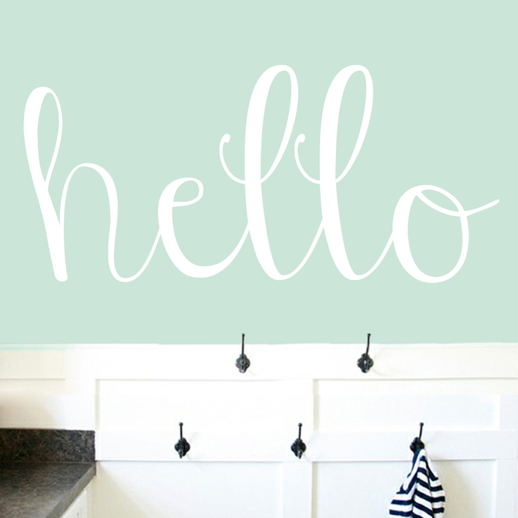 "Hello Wall Decals 48"" wide x 22"" tall Sample Image"