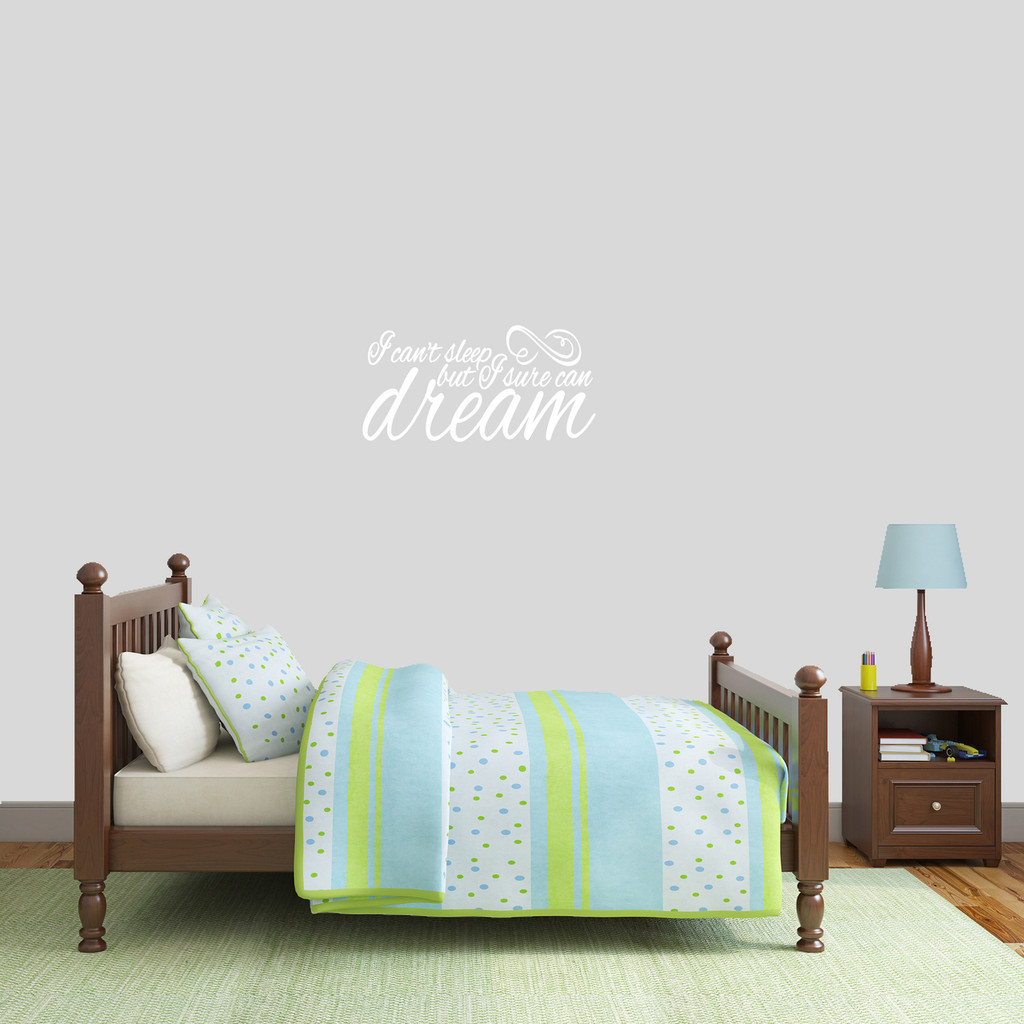"I Can't Sleep But I Sure Can Dream Wall Decal 24"" wide x 12"" tall Sample Image"