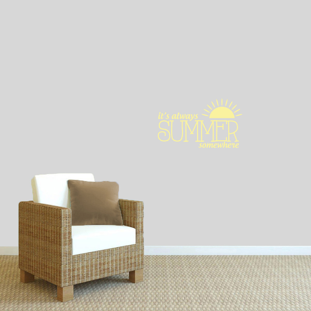 "It's Always Summer Somewhere Wall Decal 24"" wide x 14"" tall Sample Image"