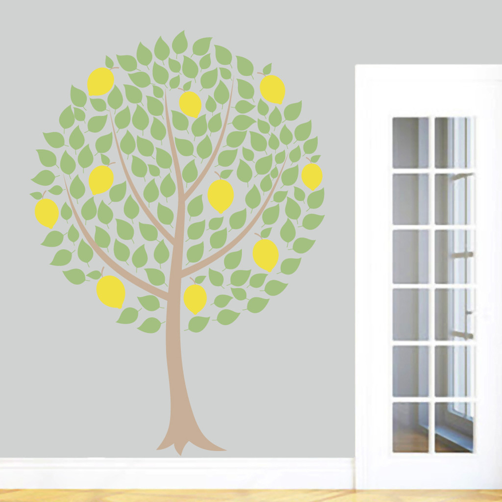 "Lemon Tree Printed Wall Decals 50"" wide x 72"" tall Sample Image"