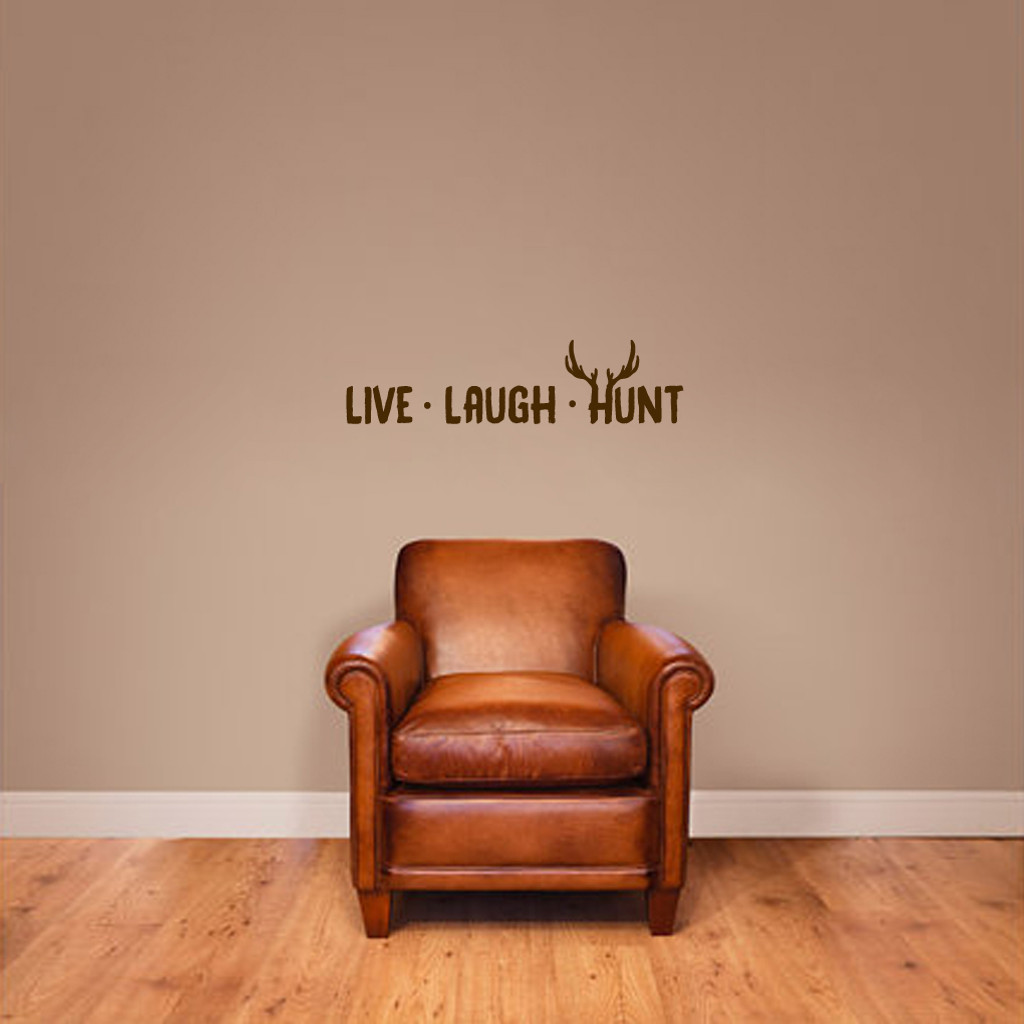 "Live Laugh Hunt Wall Decals 24"" wide x 6"" tall Sample Image"