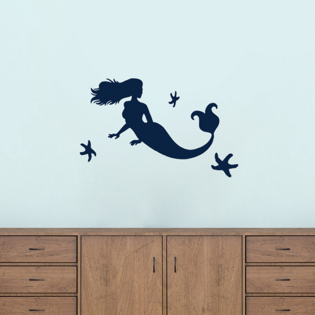Mermaid and Starfish Wall Decals Small Sample Image