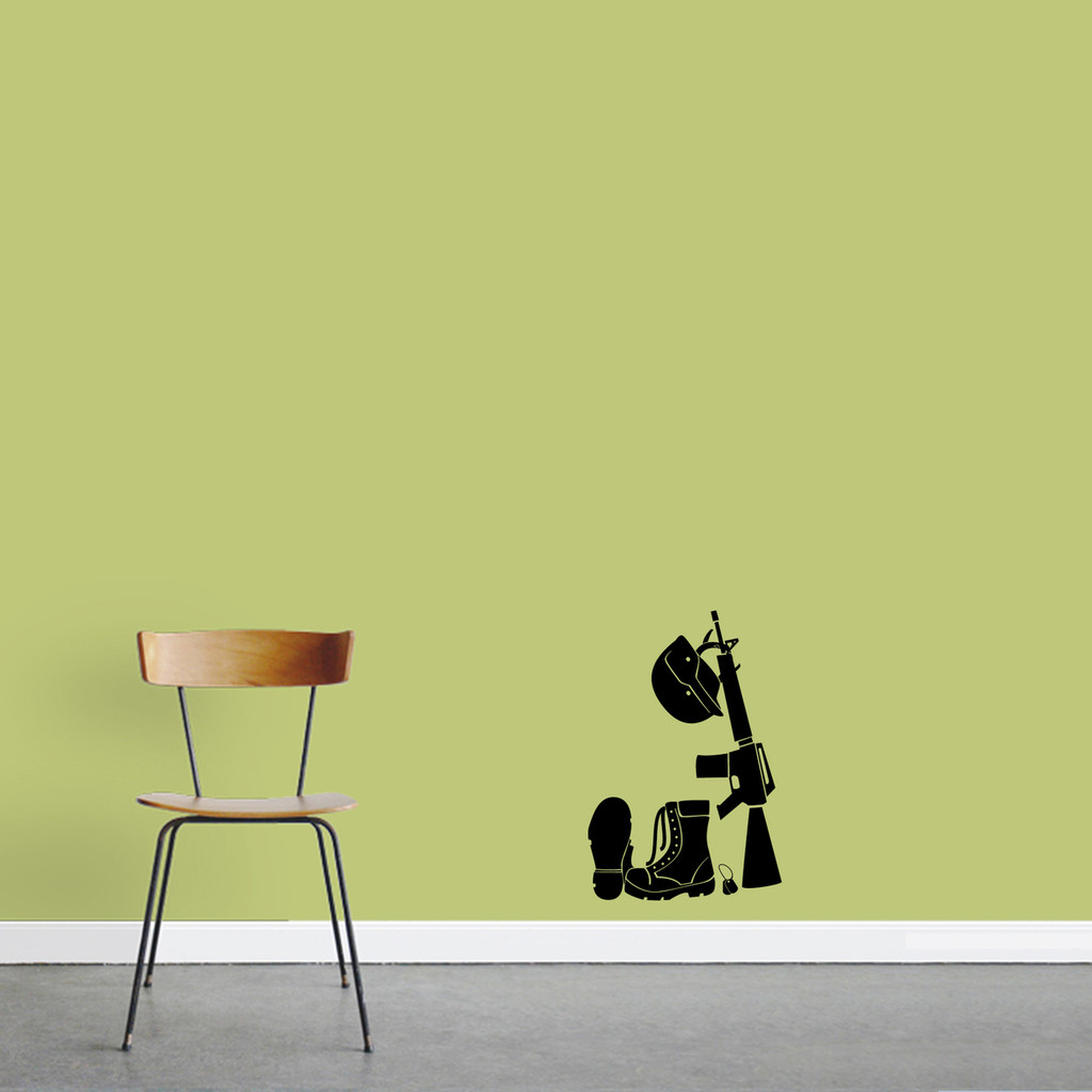 """Military Gear Wall Decal 12"""" wide x 18"""" tall Sample Image"""