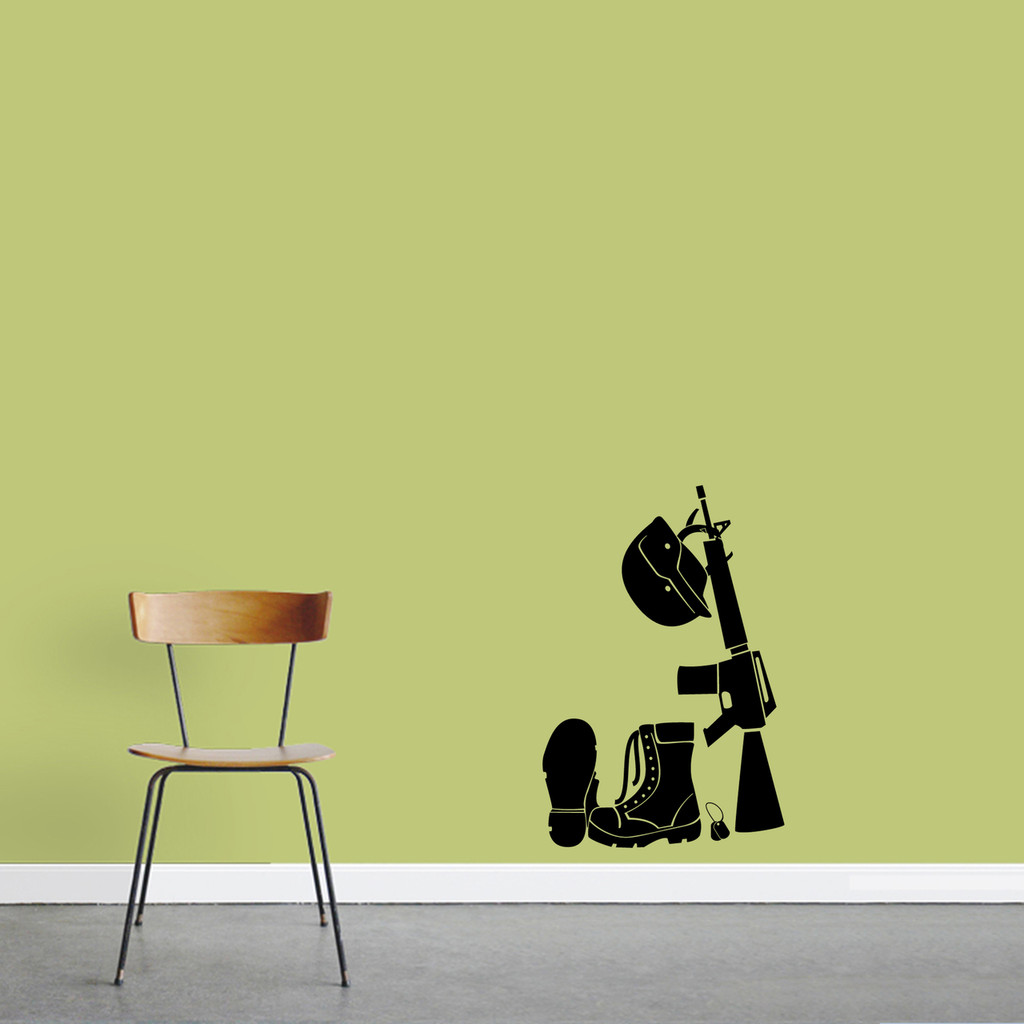 """Military Gear Wall Decal 16"""" wide x 24"""" tall Sample Image"""