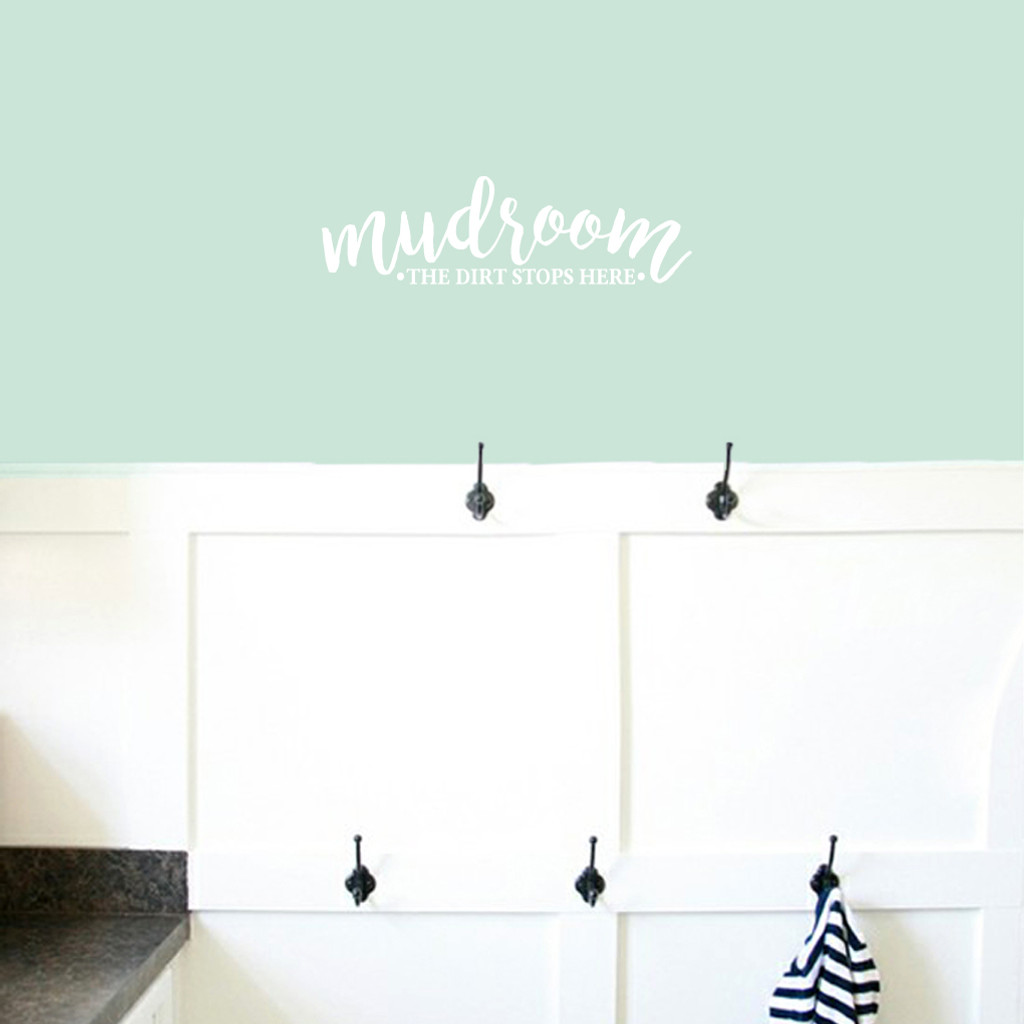 "Mudroom The Dirt Stops Here Wall Decals 24"" wide x 7"" tall Sample Image"