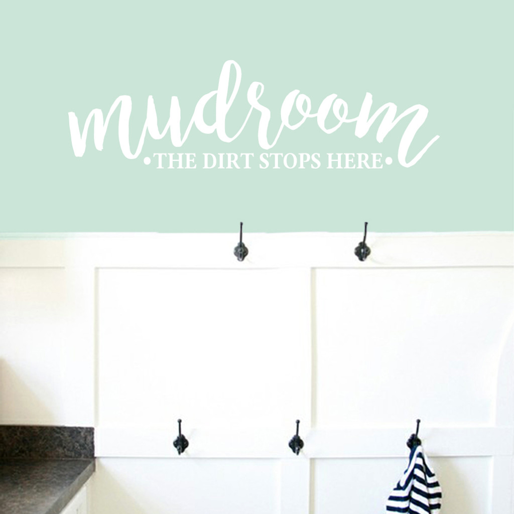 "Mudroom The Dirt Stops Here Wall Decals 48"" wide x 14"" tall Sample Image"