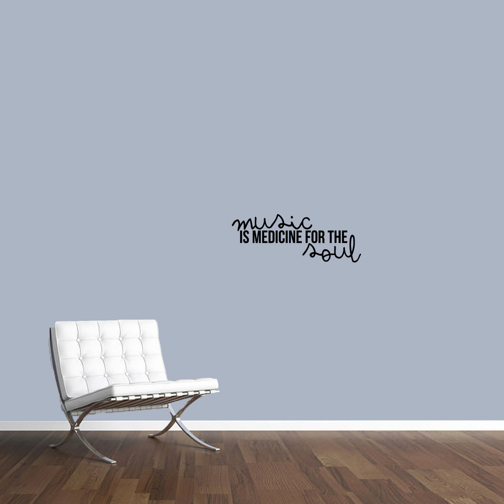"""Music Is Medicine For The Soul Wall Decal 24"""" wide x 9"""" tall Sample Image"""