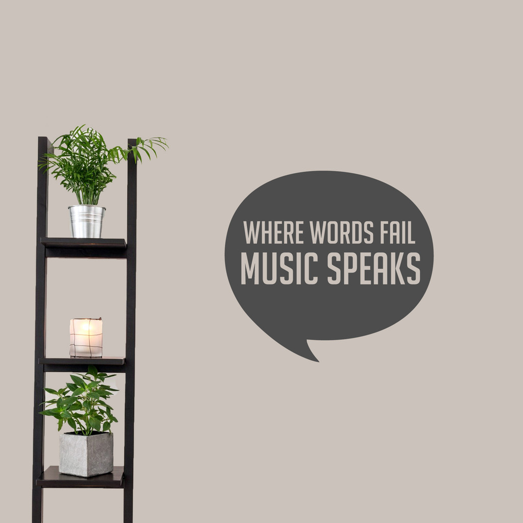 "Where Words Fail Music Speaks Wall Decal 24"" wide x 22"" tall Sample Image"