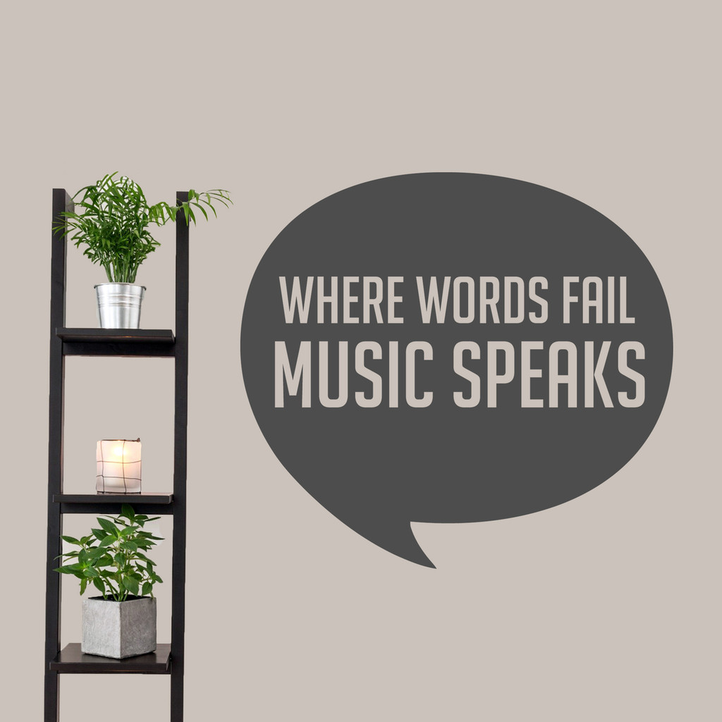 "Where Words Fail Music Speaks Wall Decal 36"" wide x 33"" tall Sample Image"
