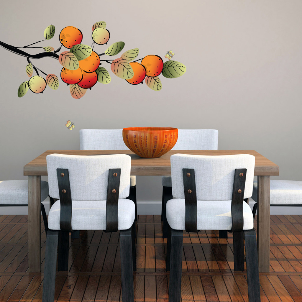 Orange Branch Printed Wall Decals and Stickers